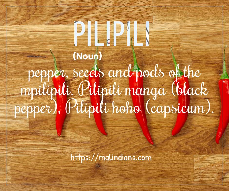 Pilipili - Swahili English Dictionary on Malindians.com